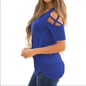PLAIN FRONT TOP WITH PEEK-A-BOO SLEEVES